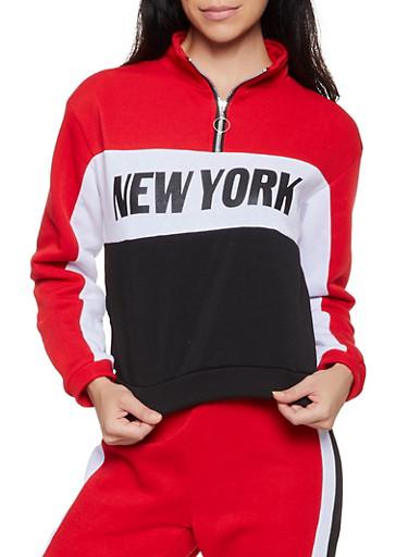 New York Half Zip Pullover Sweatshirt,RED,large