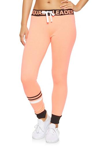 Graphic Waist Sweatpants,NEON ORANGE,large