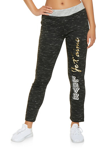 Love Graphic Marled Joggers,BLACK,large