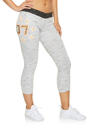 Cropped Graphic Sweatpants,HEATHER,large