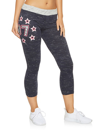 Cropped Graphic Sweatpants,NAVY,large