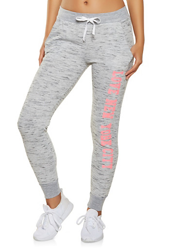 Love New York City Graphic Joggers,HEATHER,large