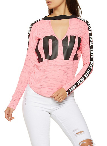 Love Graphic Choker Neck Top,PINK,large