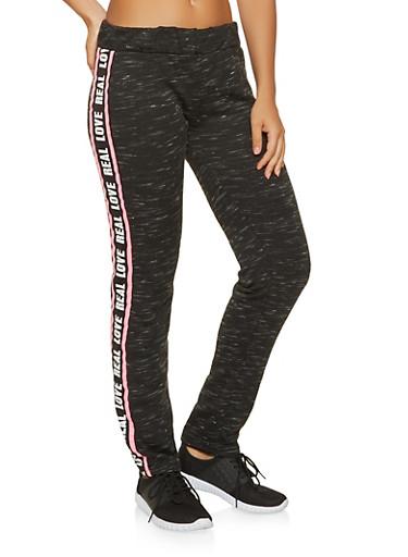 Real Love Graphic Sweatpants,BLACK,large