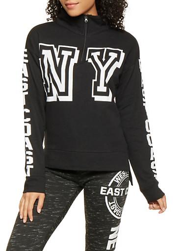 Graphic Long Sleeve Sweatshirt,BLACK,large