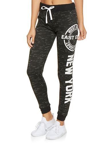 Graphic Color Block French Terry Joggers,BLACK,large