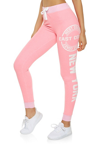 Graphic Color Block French Terry Joggers,PINK,large