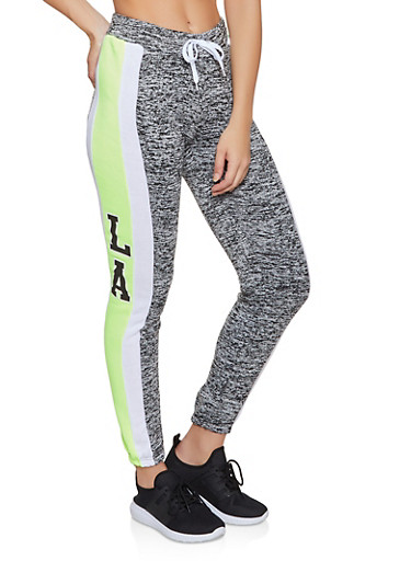 Striped Detail Joggers,LIME,large