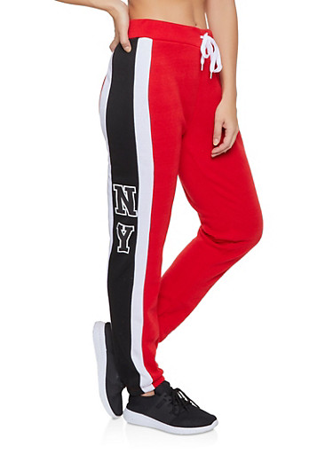 Striped Detail Joggers,RED,large