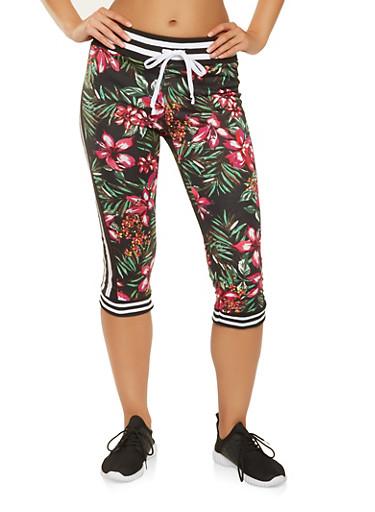 Floral Capri Sweatpants,BLACK,large