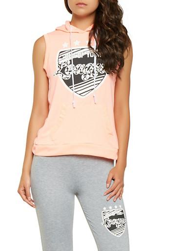 Split Back Graphic Sleeveless Sweatshirt,CORAL,large
