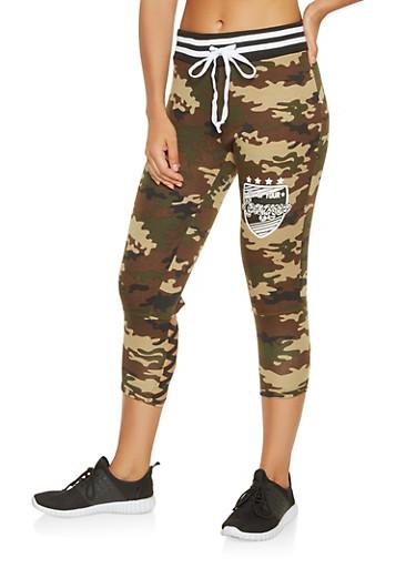 Caged Graphic Capri Sweatpants,BLACK,large