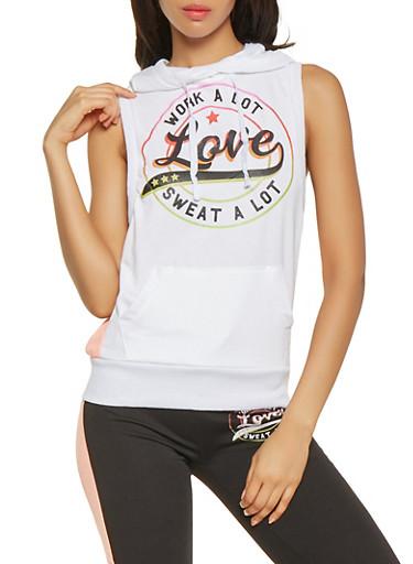Love Graphic Sleeveless Sweatshirt,WHITE,large