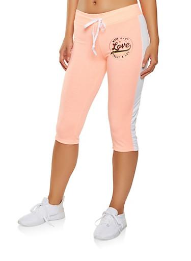 Love Graphic Capri Sweatpants,WHITE,large