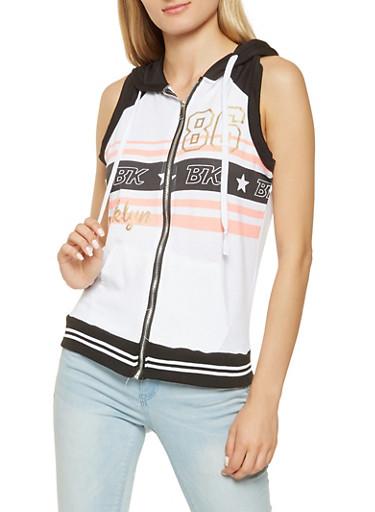 Sleeveless Graphic Zip Front Sweatshirt,WHT-BLK,large