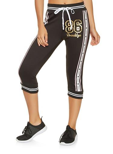 Foil Graphic Capri Sweatpants,WHT-BLK,large