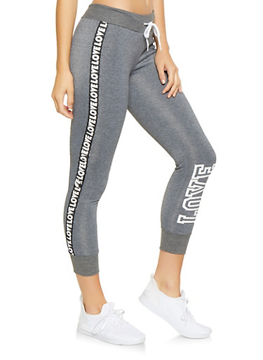 Love Graphic Side Tape Joggers,CHARCOAL,large