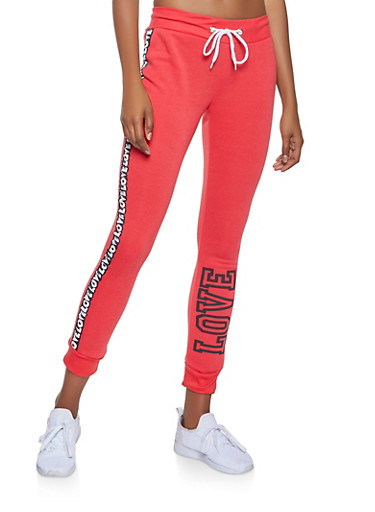 Love Graphic Side Tape Joggers,RED,large