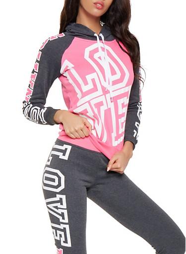 Love Nation Graphic Sweatshirt,PINK,large