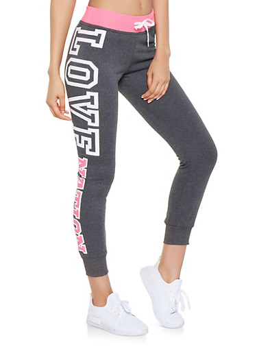 Love Nation Graphic Joggers,PINK,large