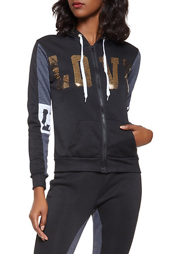 Sequin Love Graphic Hooded Sweatshirt,CHARCOAL,large
