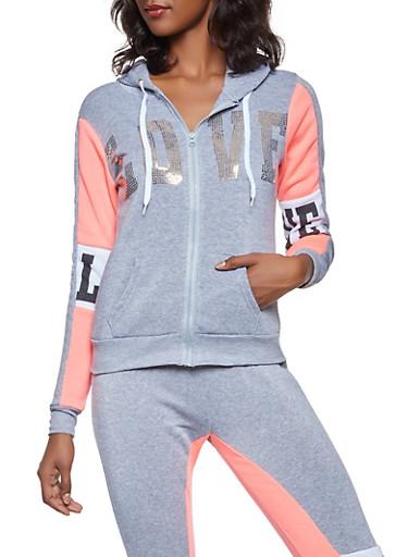 Sequin Love Graphic Hooded Sweatshirt,HEATHER,large