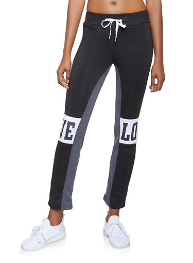 Love Graphic Sweatpants,CHARCOAL,large