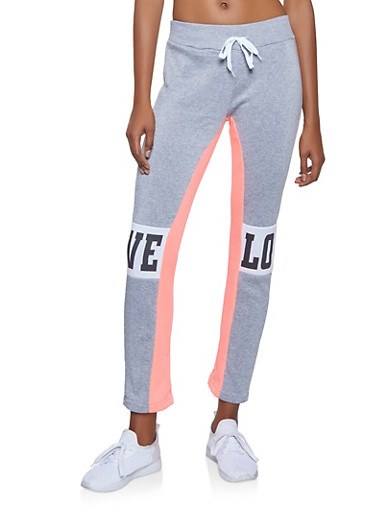 Love Graphic Sweatpants,HEATHER,large