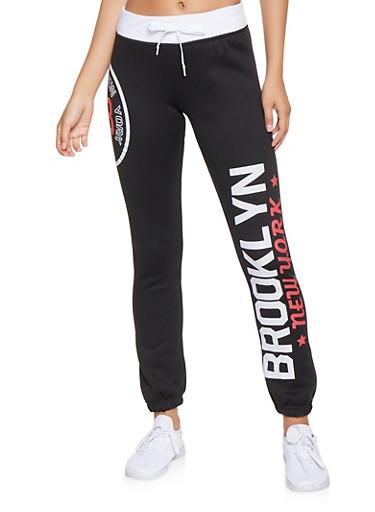Brooklyn Graphic Sweatpants,BLACK/WHITE,large