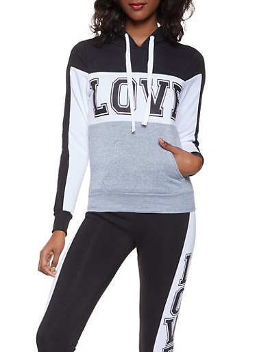 Love Graphic Hooded Sweatshirt,BLACK/WHITE,large