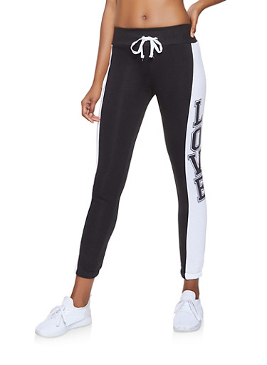 Love Graphic Sweatpants,BLACK/WHITE,large