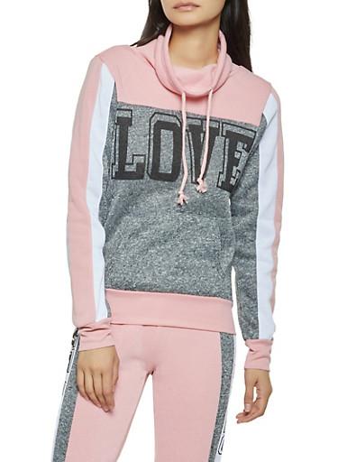 Love Graphic Color Block Sweatshirt,MAUVE,large