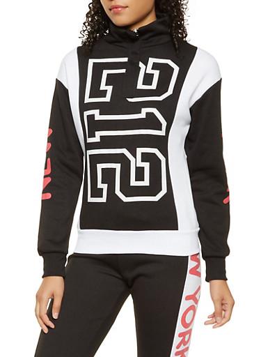 Graphic Color Block Sweatshirt,BLACK/WHITE,large