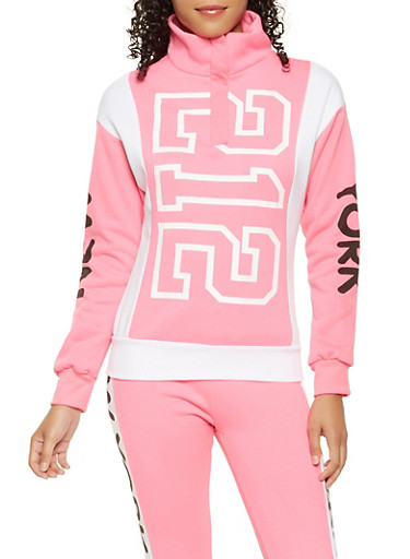 Graphic Color Block Sweatshirt,PINK,large