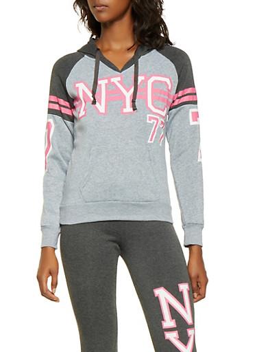 NYC Graphic Hooded Sweatshirt,HEATHER,large