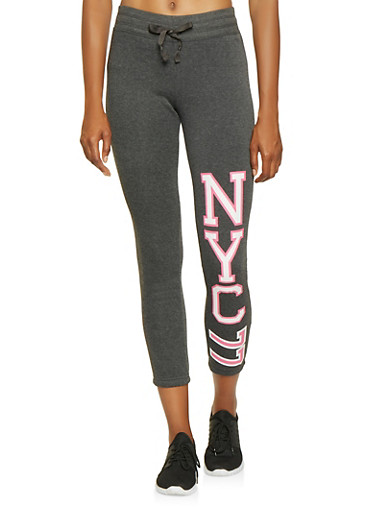 NYC Graphic Sweatpants,HEATHER,large