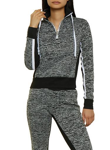 Half Zip Color Block Pullover Sweatshirt,GRAY,large