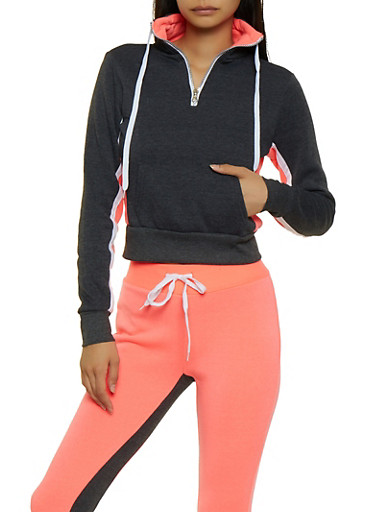 Half Zip Color Block Pullover Sweatshirt,CORAL,large