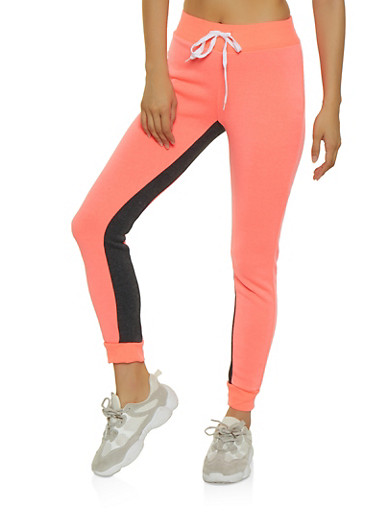 Color Block Fleece Lined Joggers   3056038347105,CORAL,large