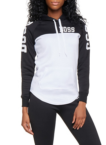 Boss Graphic Color Block Sweatshirt,BLACK/WHITE,large
