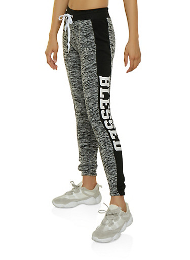 Blessed Two Tone Joggers,GRAY,large