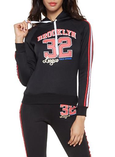 Brooklyn Graphic Hooded Pullover Sweatshirt,BLACK,large