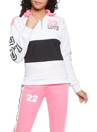 Love Graphic Color Block Sweatshirt,PINK,large