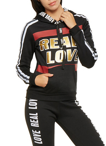 Real Love Graphic Pullover Sweatshirt,BLACK,large
