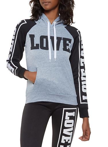 Love Graphic Sweatshirt,HEATHER,large