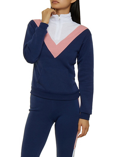Color Block Chevron Sweatshirt,NAVY,large