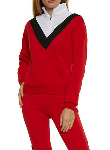 Color Block Chevron Sweatshirt,ORANGE,large