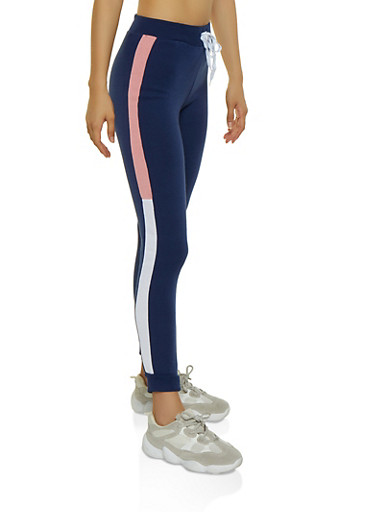 Color Block Fleece Lined Joggers | 3056038347233,NAVY,large