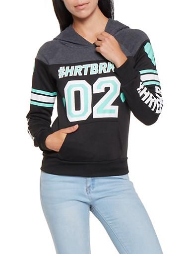 HRTBRKR Graphic Sweatshirt,BLACK,large