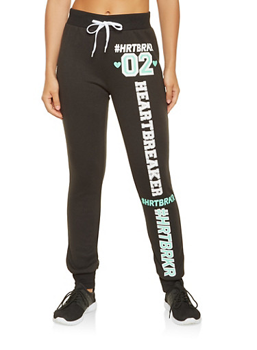 HRTBRKR Graphic Sweatpants,BLACK,large